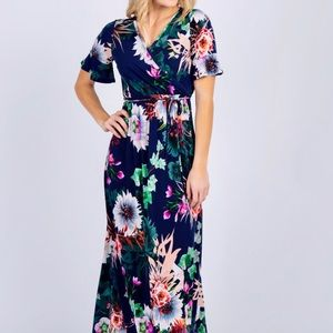 PinkBlush Ruffle Sleeve Navy Floral Maxi Dress, s